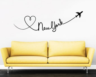 New York Quote Travel Wall Decal Vinyl Stickers Decals Home Decor Love Planes Decals Vinyl Lettering Wall Decal Bedroom ZX277