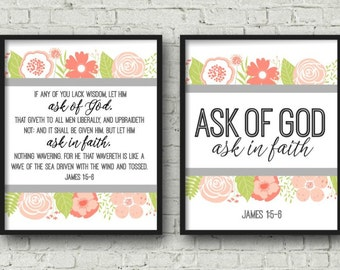 2017 LDS Mutual Theme, DIGITAL DOWNLOAD, Ask of God, Ask in Faith, Multiple Sizes included, Young Womens Poster, Mutual Theme Printable