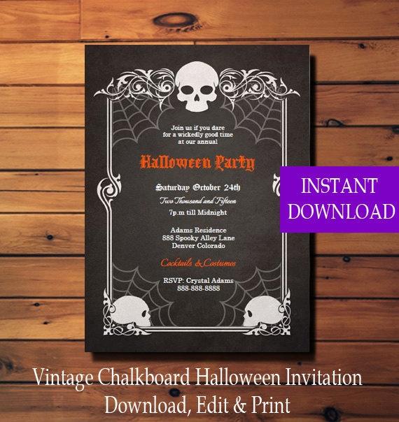 halloween invitation halloween party invitation vintage skulls