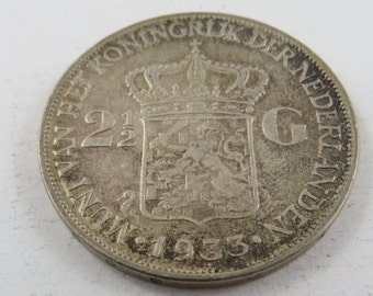 Netherlands 1933 Silver Two and a Half Gulden Coin.