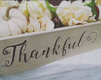 Thankful Wooden Trough Box Centerpiece - Table Centerpiece - Thanksgiving Decor
