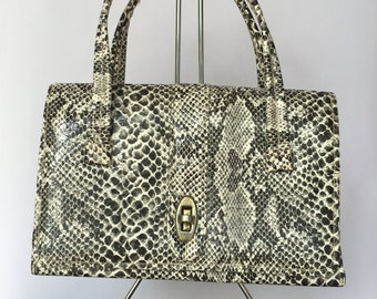 Vintage 1960s Faux Snakeskin Top-Handle Bag/Purse