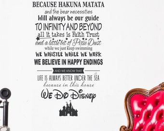 Disney In this House to Infinity and Beyond Faith Pixie Dust Keep Swimming We Whistle While We Work Vinyl Lettering Decal