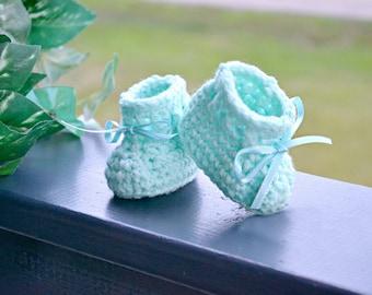 Newborn Booties - Crocheted Baby Booties - Mint Baby Booties - Baby Shower Gifts - All  color newborn booties