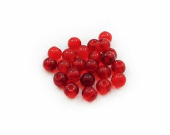 Red Glass Beads, Glass Beads, Round Glass Beads, 10 pcs Red Glass Beads, Jewelry Making, Craft Supplies