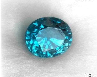 2.54ct Blue Zircon loose. Dazzling 100% natural Blue Zircon IGEC certified flawless rare Gem! unheated Zircon oval cut