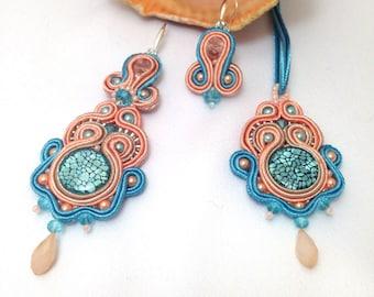 Soutache Earrings 3 in 1, Long blue -peach Dangle Earrings, Unique Earrings, Hand Embroidered Soutache Earrings