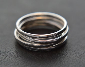 Stacking Ring Set of Four, Hammered Stacking Rings, Sterling Silver, Knuckle Rings, Pinkie Rings, 925 Sterling Silver