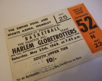 Original 1968 non P.C. Harlem Globetrotters Show Ticket ~ Empire Pool Wembley London