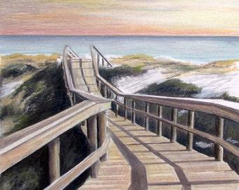 Beach Dune Walkway, Fine Art Print, Pastel, Beach, Wall Art