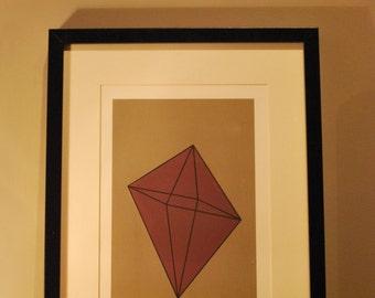 UO #2 - An original abstract handmade screen print. A geometric shape with bold colours.