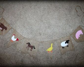 Birthday Burlap Banners Cow  Farm Animal Barn Signs Party  signs Rustic baby Kids decorations Photo prop
