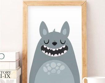 Cute monster, Cute monster print, Monster nursery decor, Cute nursery decor, Nursery print, Nursery wall art, Kid's room art, Cute, Monster