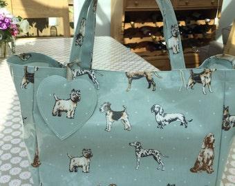 Oilcloth Tote -  Oilcloth bag - Shopping Bag - Market Bag - Shoulder Bag - Dog Bag - Tote Bag - Shopping Tote - Dog Bag - Duck Egg Blue Bag