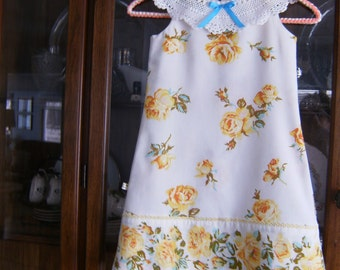 Girl's Dress 5T, Girl's Aline 5T Dress, Upcycled 5T Dress, Lace Collar 5T Dress, Vintage Dress 5T, Dress with yellow roses