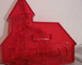 HRM STEEPLE CHURCH Nativity Red Plastic Cookie Cutter, Vintage 1950s Christmas Holiday Collectibles Ornament, Baking, Holy Cathedral 340