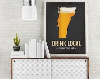 Vermont Beer Print Map - VT Drink Local Craft Beer Sign - Boyfriend Gift, Husband Gifts, Beer Gift, Beer Art, Burlington,Magic Hat Poster