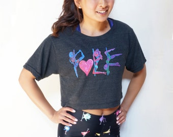 Pole Dance Loose Crop Top Tee || POLE LOVE Electric
