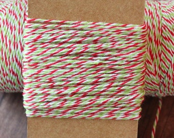 Holiday Divine Twine, 10 yards,holiday green,red and white twine,christmas red, green and white bakers twine,holiday gifts twine
