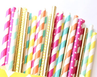 Pool party straws, pool party, beach party, summer straws, pink, blue, orange, gold, yellow straws, beach ball party