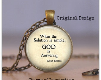 GOD is Answering necklace Einstein quote jewelry Einstein Quote Necklace Spiritual Necklace Spiritual gift Inspirational Quote 1.25 pendant