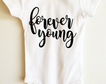 Forever Young ONESIE ® Baby Bodysuit, Young ONESIE ®, Trendy Baby, Hipster Baby, Cute Baby ONESIE ®