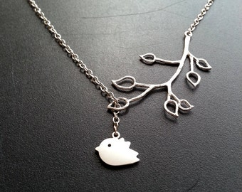 Matte Silver Bird Branch Lariat Necklace Nature Jewelry Bridesmaid Necklace Gift For Her Women's Gift