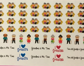 Time with Grandpa and Grandma Planner Stickers