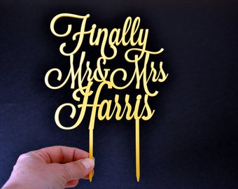Custom cake topper, Wedding Cake Topper, Mr and Mrs Cake Topper With Last Name, Finally Mr and Mrs Cake Topper, Personalized Cake Topper