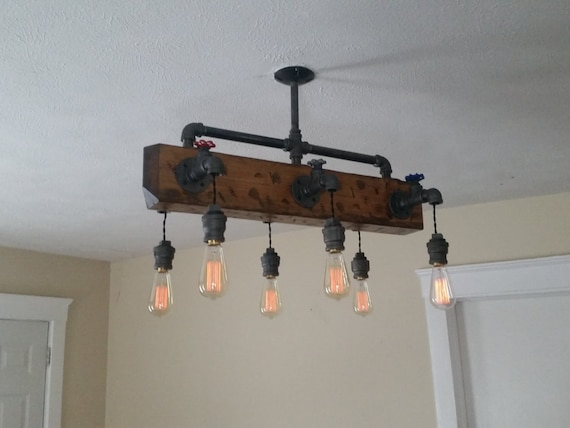 Distressed Wood Beam Chandelier Pendant Pipe Light Ceiling