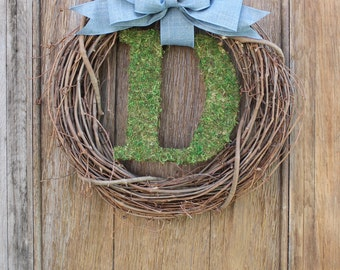 Initial Wreath, Moss Letter Wreath, Monogram Wreath, Spring Wreath, Personalized Wreath, Front Door Wreath, Spring Decor, Anytime Wreath