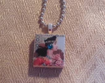 Ethnic Lady with Blue Stone Scrabble Pendant, scrabble tile jewelry, scrabble, scrabble tile pendant, pendant, jewelry, necklace