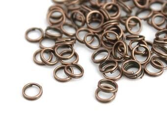 Antique Copper Split Rings 5mm - 200+ Pieces