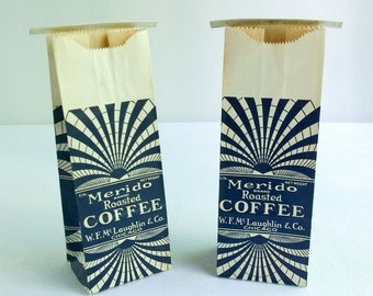 Vintage Merido Coffee Bags with Great Art Deco Graphics