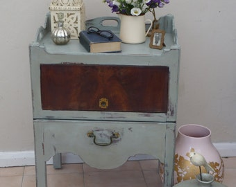 SOLD **Adorable early Victorian solid mahogany pot cupboard hand painted using ANNIE SLOAN chalk paint - Duck Egg Blue