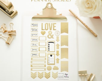 GOLD FOIL Premium Printable Planner Stickers / Journal cards / scrapbook labels & paper craft supplies.