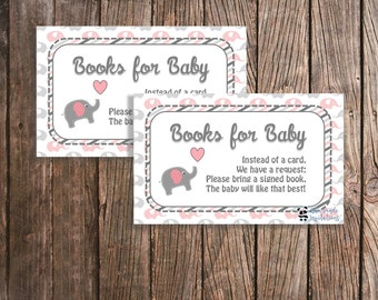 Digital Pink and Grey Elephant Books for the Baby Invitation Inserts - Baby Girl Shower - Downloadable - Elephant Theme
