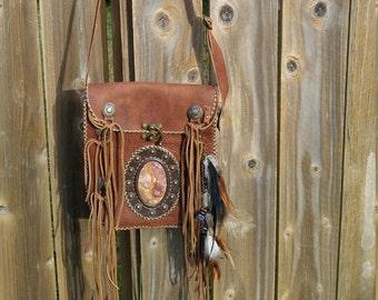 Brown Leather  fringe bag, Suede fringe bag, Suede fringe bag with stone, Cross body fringe bag, shoulder fringe bag, #41