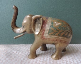 Brass Etched Painted Elepahnt with Trunk Up