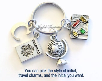 Gift for Travel Agent Keychain, World Traveler's Key Chain, Vacation Globe Passport suitcase initial letter Flight Attendant purse  charm