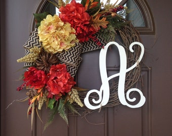 Wreath - Fall Wreath for Front Door - Front Door Decor - Hydrangea Wreath - Front Door Wreaths with Initial - Monogram Autumn Wreath - Gift