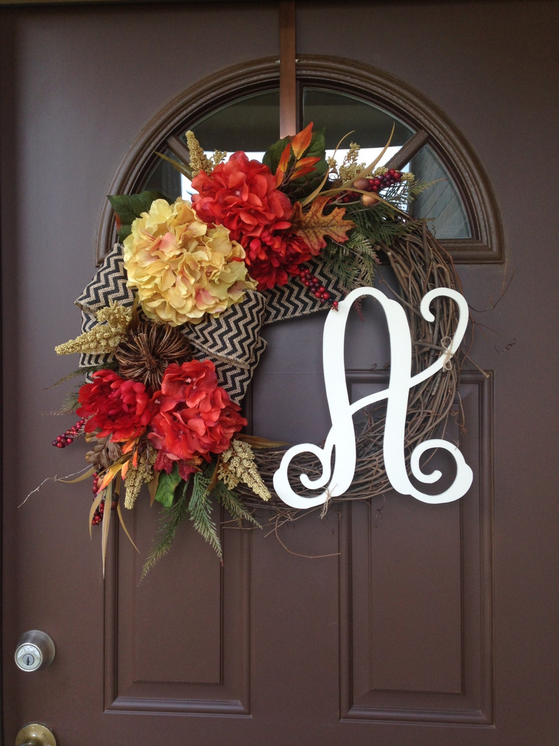 Wreath Fall Wreath For Front Door Front Door Decor By Flowenka: fall autumn door wreaths