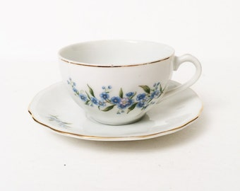 Periwinkle Cup & Saucer, vintage periwinkle flower bone china dish