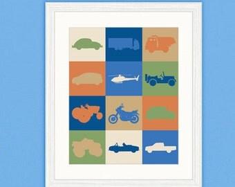 Vehicle Digital In a Pickle Print Boy Nursery Room Print