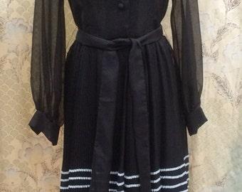 Vintage 1970s Brown Ruffled Maxi Dress