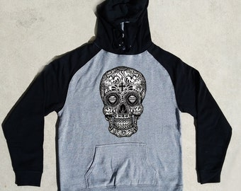 Sugar Skull Black & White Cool Day Of The Dead Dia De Los Muertos Gothic Raglan Hoodies