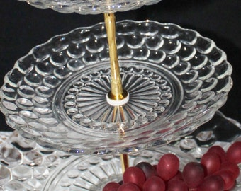 3 tier cake stand  Fire King Bubble 3 tier dessert stand tidbit tray fruit stand pastry stand