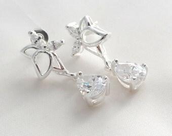 Crystal Earrings - Silver Bridal Earrings - Tear Drop Earrings - Silver Earrings