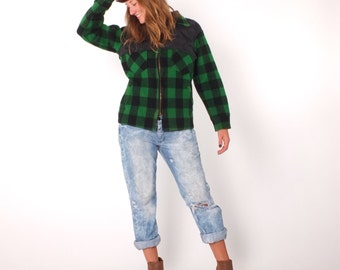 1970s Vintage Woolrich Green Buffalo Plaid Hunting Jacket S M