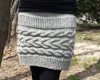 Cable Knit Skirt. Tweed Skirt. Grey Skirt. Horseshoe Cable Skirt.